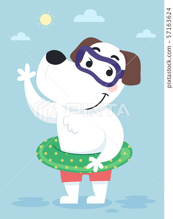 Dog Swimming Attire Illustration 57163624