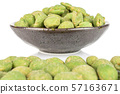 Green wasabi peanut isolated on white 57163671