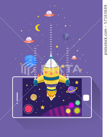 Mobile Arcade Space Battle Game Illustration 57163689