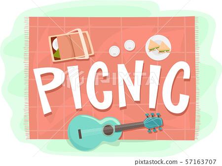 Picnic Elements Lettering Illustration 57163707