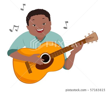 Teen Boy Down Syndrome Hobbies Guitar Illustration 57163815