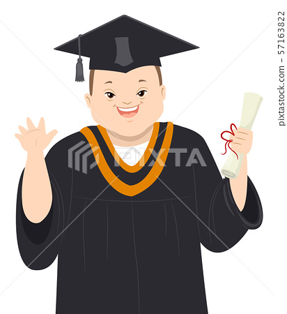 Teen Boy Down Syndrome Graduate Illustration 57163822