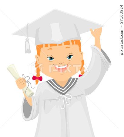 Kid Girl Down Syndrome Graduate Illustration 57163824
