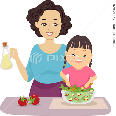 Kid Girl Down Syndrome Mom Help Preparing Food 57163826