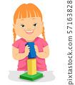 Kid Girl Down Syndrome Building Block Illustration 57163828