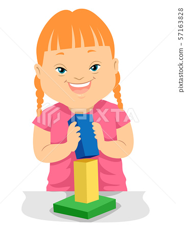 Kid Girl Down Syndrome Building Block Illustration 57163828