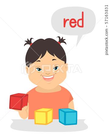 Kid Girl Down Syndrome Describing Colors 57163831