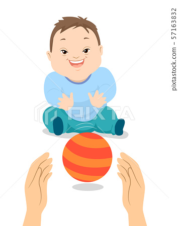 Baby Boy Down Syndrome Play Ball Illustration 57163832