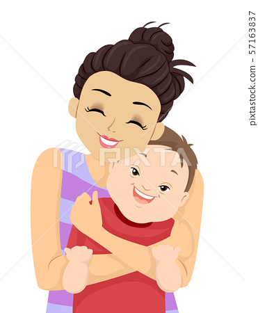 Kid Boy Down Syndrome Sister Hug Illustration 57163837