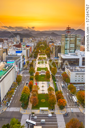 Cityscape of Sapporo, Japan at odori Park 57164767