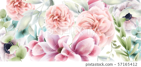 Pink roses floral card Vector watercolor. Provence 57165412
