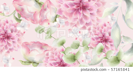 Pink chrysanthemums floral background Vector 57165841