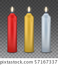 Vector set of three realistic burning candles - 57167337