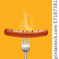 Sausage steaming Vector realistic. Menu advert 57167381