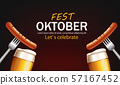 October fest poster with beer glasses and sausage 57167452