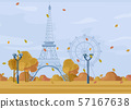 Paris Autumn season park Vector. Fall poster 57167638