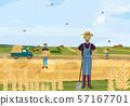Farmers working hay fields vector flat styles 57167701