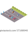 City parking with disabled spaces isometric vector 57168046