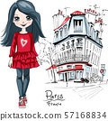 Vector baby girl in Paris 57168834