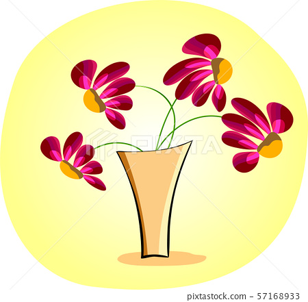 vase with flowers on a yellow background 57168933