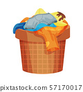 Brown basket with dirty linen. Vector illustration on a white background. 57170017