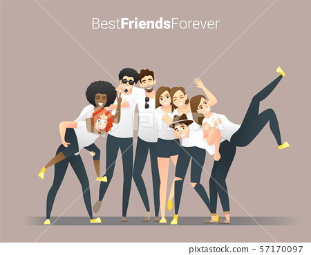 Friendship concept with group of young friends having fun and standing together 57170097