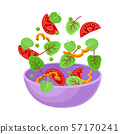 Purple bowl with slices of vegetables. Vector illustration on a white background. 57170241