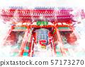 Asakusa thunder gate watercolor style 57173270