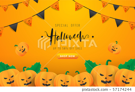 Halloween season background with black and orange party flags and pumpkin. Design of Halloween text with gradient orange and yellow background for advertisement, banner ads. EPS10 vector illustration. 57174244