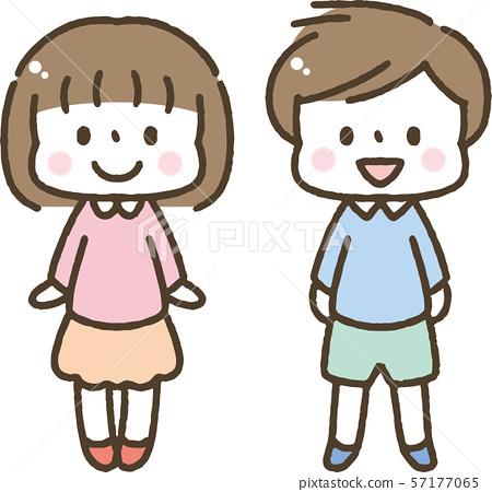 귀여운 손으로 그린 어린이 / 소년 / 소녀 57177065