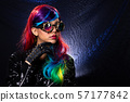 Fashion Model Woman wear Kaleidoscope Glasses 57177842