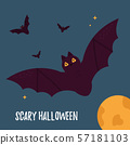 Halloween holiday card with flying bats and moon. 57181103