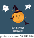 Halloween holiday card with moon, ghosts and bat 57181104