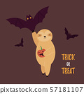 Halloween card with funny sloth and bat 57181107