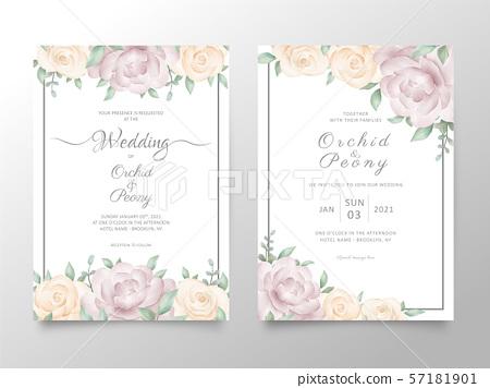 Wedding Invitation Card Template Set With Stock Illustration 57181901 Pixta