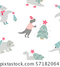 Christmas seamless pattern with dino Holiday print 57182064