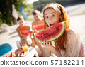 woman, watermelon, eating 57182214