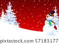 Cute snowman greeting on a red winter background 57183177