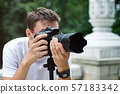 Man taking photos with a telephoto lens 57183342