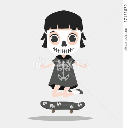 Kid halloween character wearing skeleton with 57183879