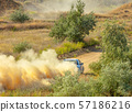 Sports Car on a Bend and a lot of Dust 05 57186216