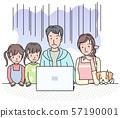 컴퓨터 앞에서 어두운 느낌의 가족 57190001