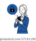스마트 폰을 조작하는 여성 미소 57191190