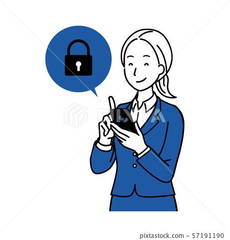 一個操作智能手機的女人 57191190