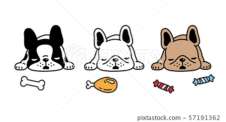 dog vector french bulldog sleeping puppy bone toy icon cartoon character symbol breed illustration doodle design 57191362