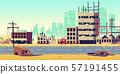 City in war zone cartoon vector background 57191455