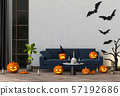 3D render Halloween party in living room  with pumpkins, jack-o-lantern 57192686