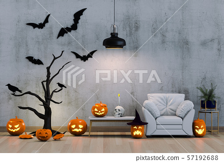 3D render Halloween party in living room  with pumpkins, jack-o-lantern 57192688