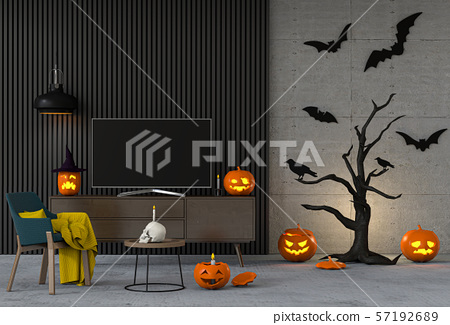 3D render Halloween party in living room  with pumpkins, jack-o-lantern 57192689