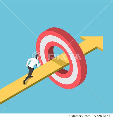 Isometric businessman running on the arrow 57201871